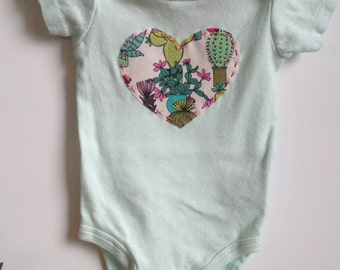 Prickly heart succulent & cacti print heart appliqued bodysuit (multiple sizes available)