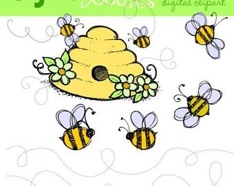KPM busy bumble bee digital clipart