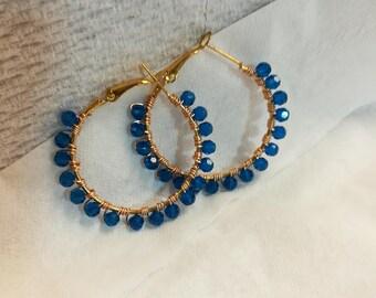 Swarovski Capri Blue AB Gold Plated Hoops