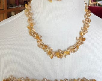 3 piece set Chunky bib necklace, Ivory And champagne one of a kind as pictured necklace