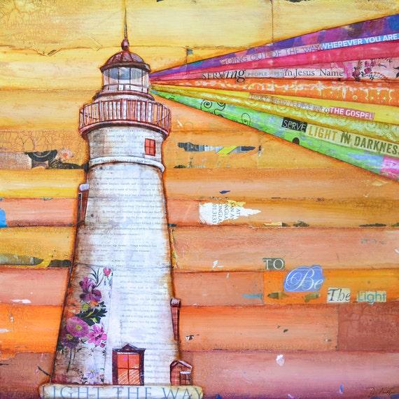 Lighthouse Art PRINT or CANVAS, nautical print, Bible verse, scripture print, inspirational, beach nautical coastal home decor, All Sizes