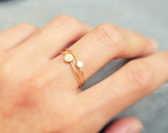 Golden rings, thin rings, stackable ring, skinny shiny raw brass, thin gold rings
