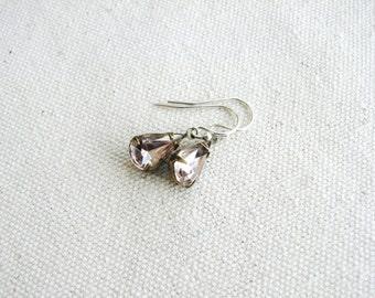 Pale Pink Earrings Glass Jewel Earrings Vintage Cut Gems Dusty Rose Estate Style Minimalist Modern Wedding Bridal Gift Jewelry Sparkly