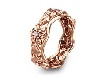 Diamond Eternity Wedding Band in 14K Solid Rose Gold Anniversary Ring Camellia Jewelry