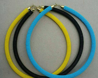 Beaded rope necklace, single strand necklace, turquoise necklace, yellow black necklace