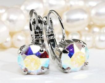 AB Crystal Earrings, Ab Bridal Drop Earrings 8mm Aurora Borealis Iridescent Ab Single Stone Earrings Swarovski Rhinestones,Silver finish,SE2