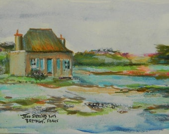 Bretagne (Brittany) France -Isolated Island House With Blue Shutters.Original