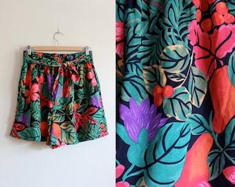 Vintage Black, Red & Green Tropical Floral High Waist Shorts