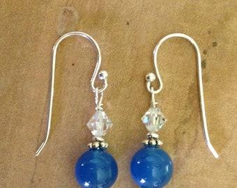 Blue quartz dangle earrings