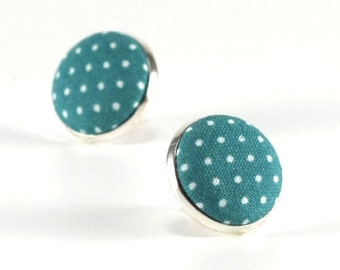 Teal Blue Stud Earrings, Polka Dots Earring Studs, Green Fabric Covered Buttons, Silver Toned Earrings, Posts, Fabric Button Jewelry