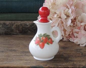 Avon Milk Glass Strawberry Cruet Vintage Kitchenwares Retro Farmhouse Table Setting Ca 1970s