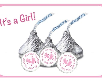 It's a Girl Stickers, Pink Baby Shower, Hershey Kiss Stickers, Pink Envelope Seal, Baby Girl Shower, Pink Baby Feet, Pink Shower Favor (416)