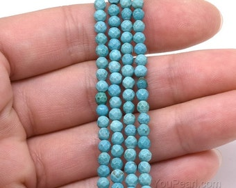 Turquoise beads, 3mm round faceted, small turquoise beads, natural stone beads, turquoise seed beads, semi precious gemstone strand, TQS1007