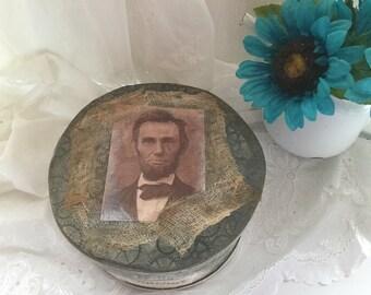 Vintage Repurpose Cheese Box Primitive Abe Lincoln, Colonial Decor