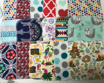 MamaBear Reusable Large Flannel Cloth Wipes Towelettes (6.5 x 6.5) Set - Baker's Dozen