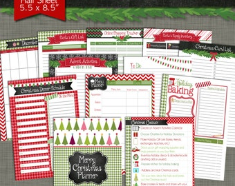 Merry Christmas Printable Planner - Size Small 5.5 x 8.5 PDF - Instant Download