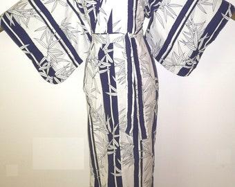 Fabulous Quality Vintage, Used, Cotton, Dark Blue & White, Oriental Kimono style, Yukata style, Dressing gown, Robe, Stripes + Bamboo Leaves