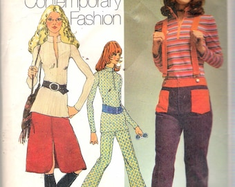 Vintage 1971 Simplicity 9580 Young Contemporary, Blouse, Skirt & Bell-Bottom Hip-Hugger Pants Sewing Pattern Size 8 Bust 31 1/2""