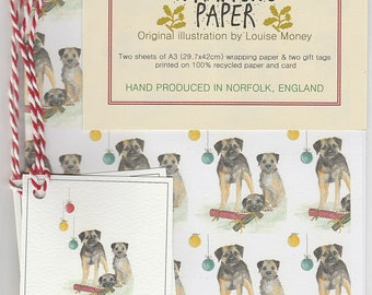 Christmas wrapping paper. gift wrap with border terriers. border terrier gift. border terrier christmas wrapping paper. dog gift wrap.