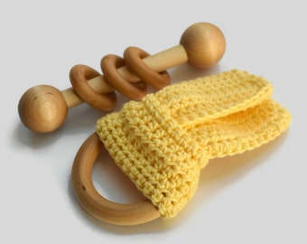 Baby Gift Set, Wooden Baby Teether, Baby Rattle, Baby Gift Handmade, Gender Neutral Baby, Baby Shower Gift, Wooden Baby Toy, Crochet Teether