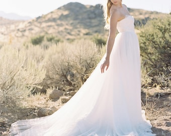 Ivory Bridal Gown, Beaded Corset Lace Wedding Gown, Tulle Ball gown, Effortless Romantic Lace Bridal Gown - Hope