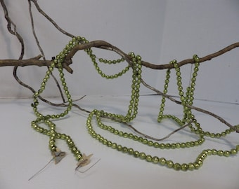 Vintage 1930s 1940s Mercury Glass garland- green- 106 inches