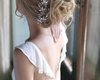 Floral Bridal Hair Comb, Crystal Wedding Hair Clip, Floral Bridal Clip, Bridal Hair Accessories, Bridal Hair Clip, Floral Headpiece - 7016