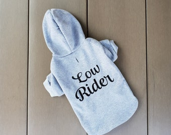 Low Rider Dachshund Sweater, dachshund clothes, dachshund hoodie jumper, funny clothes for small dog, small dog clothing, dachshund shirt
