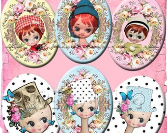 SOFORTIGER DOWNLOAD Retro Mod 60 ist groß Twiggy Pose Dolls - Eyed Vintage Kawaii digitale Collage Sheet - 30 X 40 mm Schmuck ovale - Polka Dots