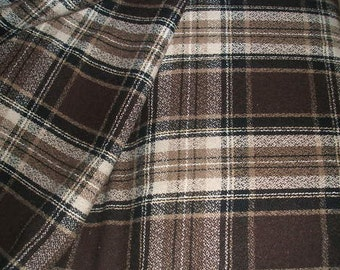 Brown Beige and Ivory Check Suiting Fabric