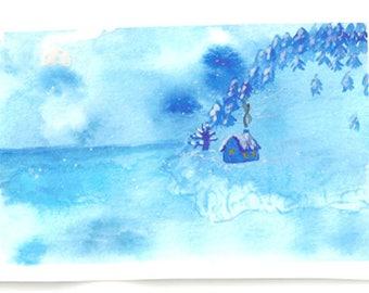 Christmas Theme Watercolor Postcards