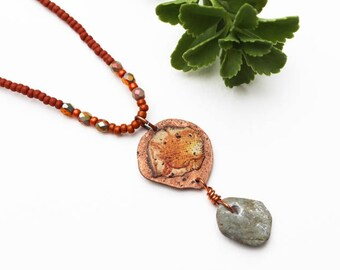 Orange Mixed Media Necklace, Mixed Media Jewelry, Stone Necklace, Rustic, Natural, Recycled Repurposed, Copper, Short Bohemian Necklace