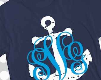 Anchor svg, Grunge Anchor, anchor monogram svg, distressed svg, Monogram frame svg, frame svg, beach svg, vacation svg, cutter