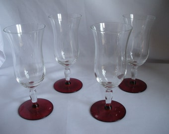 Four (4) Vintage Water Stems with Red Basess - 1920's - Weston Glass Company