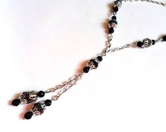 Vintage Eloxal Chain Necklace Long Length Dangle Black Iridescent Aluminum Alloy Lightweight Silver Sautoir Peacock Rose