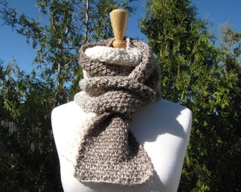Beige and Brown Scarf - Chunky Soft Neutral Scarf - Ivory and Taupe Scarf - Neutral Ombre Stripes - Classic Linen Stitch - Soft Wool