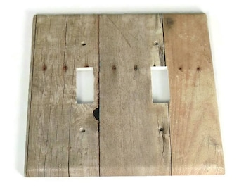 Double Switchplate  Light Switch Cover  Switch Plate in Barnwood  (201D)