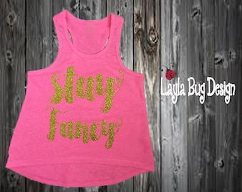 Stay Fancy tank | Gold and pink glitter Stay Fancy tank | Gold and pink glitter high low tank