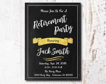 Gold Black Invitation - Retirement Party Invitation, Chalkboard Invitation for your Retirement Party