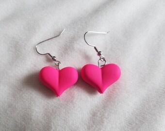 Neon Pink Heart Earrings