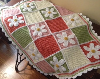 Crocheted Daisy Quilted Throw