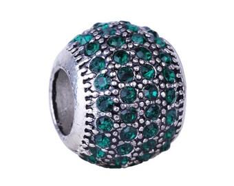 2 large hole pandora charms, Rhinestones, emerald green beads