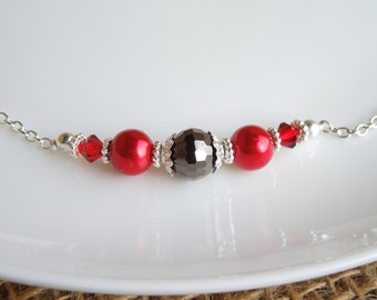 Red and Dark Grey Pearl and Crystal Necklace Swarovski Crystal Bridesmaids Wedding Jewelry