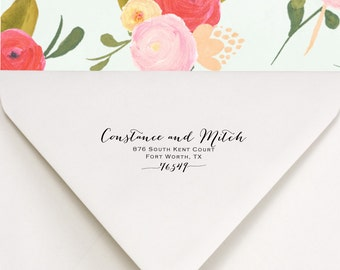 Swashes Address Stamp - Return Address Stamp - We've Moved - Change of Address Stamp - Wedding Gift Address Stamp - Constance and Mitch