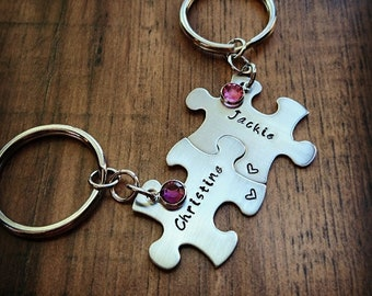 Hand Stamped Personalized Puzzle Piece Keychain - Family Keychains - Best Friend Keychains - Sister Gift - Friend Gift - Best Friend Gift