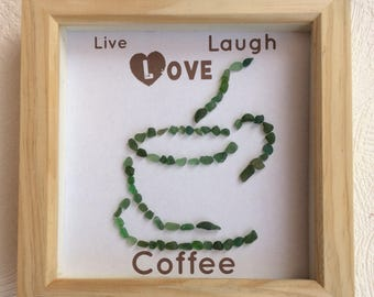 Sea glass art framed picture - live laugh love art - coffee picture  - sea glass picture