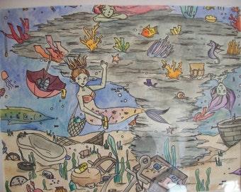 Mermaid Treasure Trove print, 8.5x11