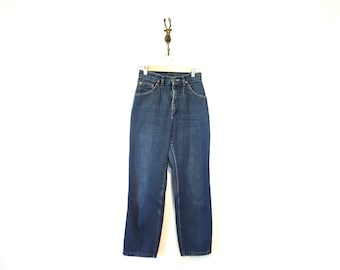 Vintage Denim Jeans / Womens 70s or 80s Lee Jeans / Small Petite Vintage Denim / High Rise Mom Jeans