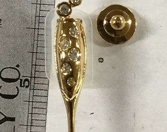 Used champagne glass pinback brooch pin - gold tone
