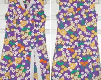 1960s Vintage Clothes, Culottes, Pantdress, Jumper, Mod, Purple Floral Fabric, Sleeveless, Drop Waist, Front Panel, Metal Zipper, Medium